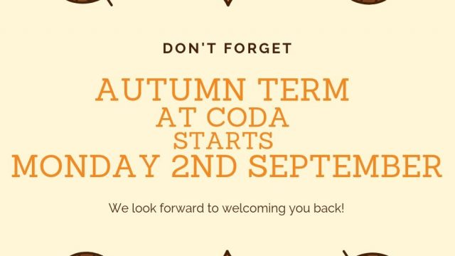 AUTUMN TERM STARTS MONDAY 2ND SEPTEMBER